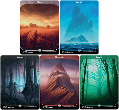 MTG Full Art Unstable Swamp Island Plains Forest Mountain -1 of each