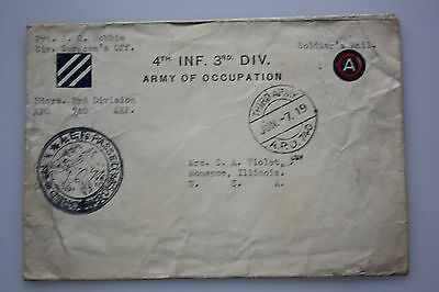 WWI 1919 Beleg APO 740 - 4th Inf.3rd Div. Army of Occupation - seltener Beleg