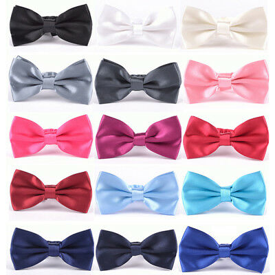 Mens Tuxedo Classic Solid Color Butterfly Wedding Party Bow Tie Necktie Novelty