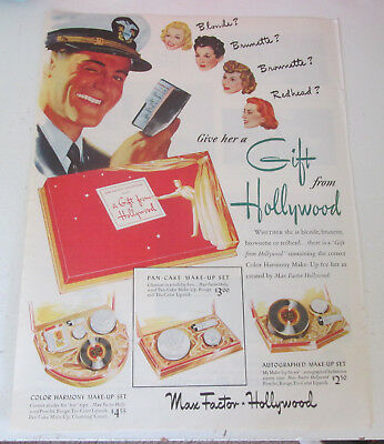 1944 original ad Max Factor Hollywood Cosmetics Gift Set for Holiday