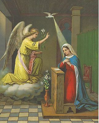 Catholic Print Picture THE ANNUNCIATION Virgin Mary and Archangel Gabriel 8x10""
