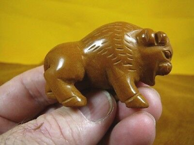 (Y-BUFF-711) BUFFALO roaming bison gemstone tan Mookaite Stone FIGURINE carving
