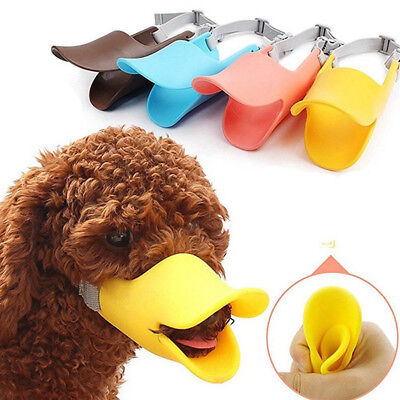 Dog Puppy Silicone Muzzle - Fun Duck Design - For Smaller Breeds - Many Colors