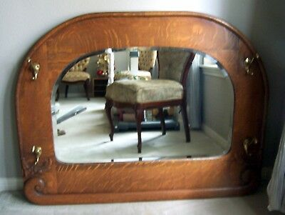Beautiful large antique beveled glass, oak frame hanging mirror - vintage