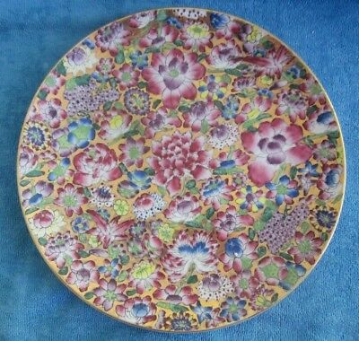 hand painted asian cloisonne style 31cm DISPLAY PLATE gold background enamelling