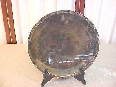 Beautiful Vintage Decorative Round Footed Silverplate Cake Plate/Serving Tray