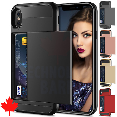 For iPhone X & iPhone Xs - Money Wallet Credit Card ID Hybrid Slider Case