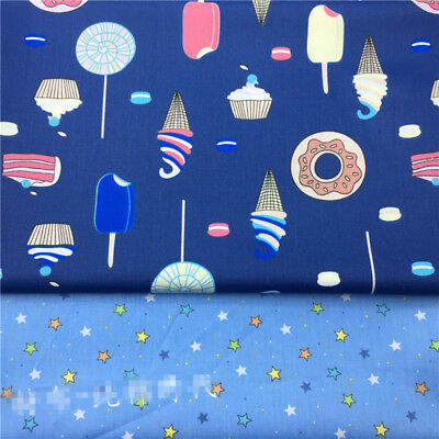 50x160cm Cotton Twill Fabric Quilt Bedding Articles Ice Cream Star Blue TB4 S