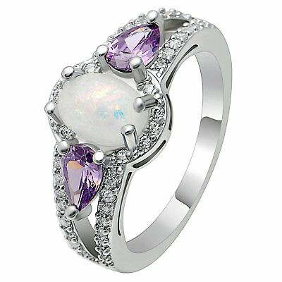 Chelsey Oval Shape Lab Created Fire Opal Purple CZ  Ring Ginger Lyne Collection