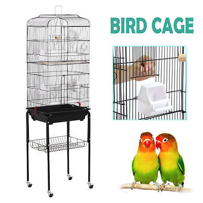 Large Tall Cockatiel Parakeet Finch Canary Cage Bird Cage With Black Stand NEW