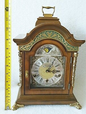Westminster Mantel Clock Warmink Green Band Double Kap Nut Wood 32cms Moonphase