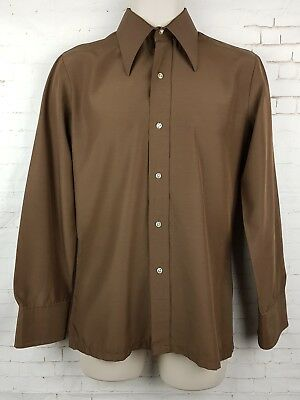 "Vtg 1970s Brown French Long Sleeve Polycotton Shirt Mod Disco-14.5""/S- EQ84"
