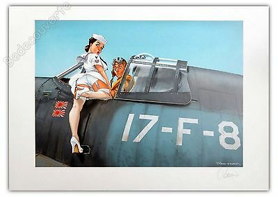 Affiche Romain Hugault Pin-up Wings Avion 17-F-8 Signée 50x70 cm