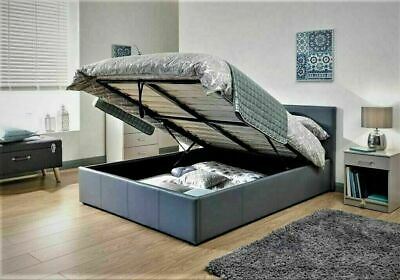 LUNA Grey 3ft Single Faux Leather Bed Ottoman Gas Lift Up Storage Bed