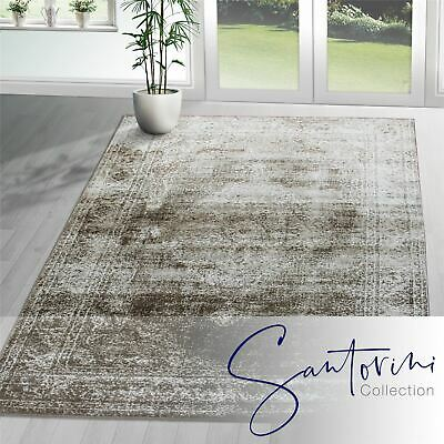Traditional Persian Rug Design Oriental Brown Faded Shabby Chic Carpet Mat