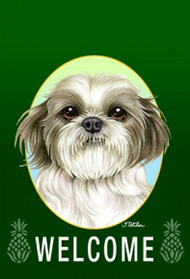 Garden Indoor/Outdoor Welcome Flag (Green) - Black & White Shih Tzu 74011