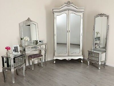 Mirrored Silver French Style Mirror Glass Shabby Chic Antique Bedroom Furniture