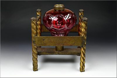 19th Century Cranberry Cut To Clear Sandwich glass Wedding Lamp