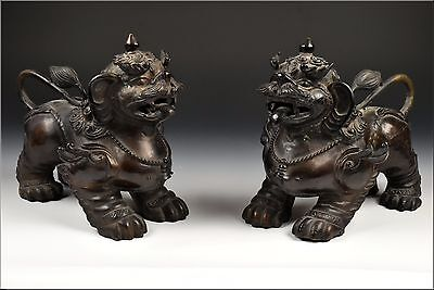 Pair of 18th Century Chinese Bronze Anatomically Correct Foo Dog Statues