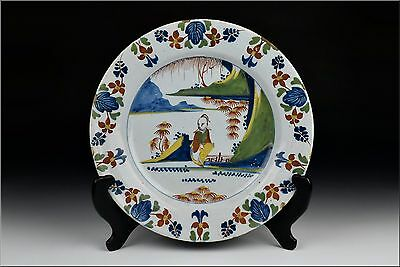 18th Century Delft Art Pottery Polychrome Painted Charger w/ Chinoiserie
