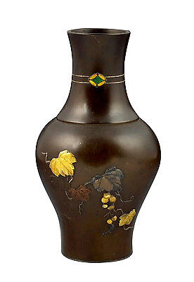 Fine 19thC Japanese Mixed Metals Bronze Vase w/ Enamel Gold Silver & Copper