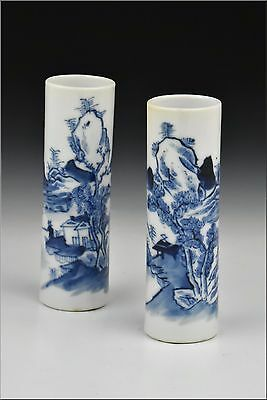 Pair of 17th / 18th Century Chinese Kangxi Period Porcelain Cylindrical Vases