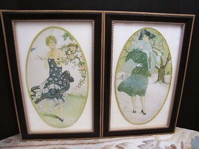 French Art Deco Fashion Design with Framed. One Pair