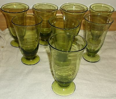 Vintage Set Of 8 Blenko Glass / Andersons #919 Blown Chartreuse Glasses Vgc