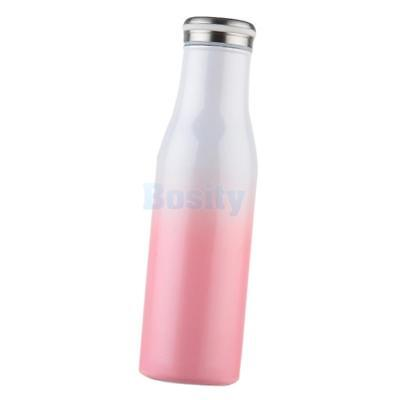 17oz Sports Water Bottle Insulated Cup Vacuum Flask Travel Pink White 500ml