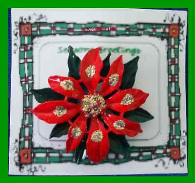 Christmas PIN #0198 Red & Green Enamal Poinsettia w/Gold Glitter HOLIDAY Brooch