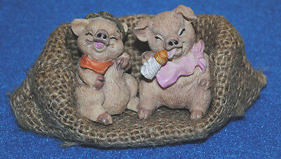 2 Piglets Pigs in a Burlap Snugly Bed CUTE baby pig has a bottle Resin Figurine