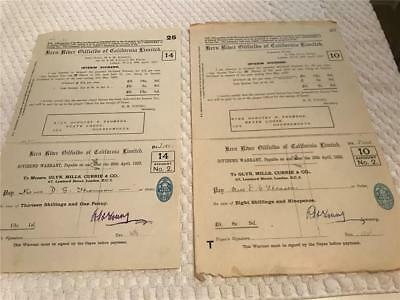 KERN RIVER OIL FIELDS CA 1920 1922 Dividend Warrants lot of 2
