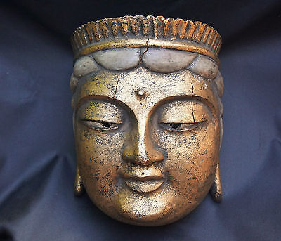 Antique Chinese Carved Wooden Gilt Buddha Face Mask