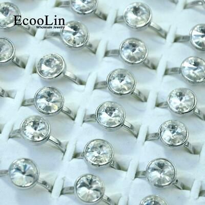 10pcs Stainless Steel Rings Top Zircon Fashion Wholesale Mixed Jewelry Free Post