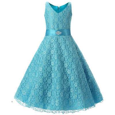 Flower Girl Dress Lace Princess Formal Bridesmaid Graduation Dressy Everyday NEW