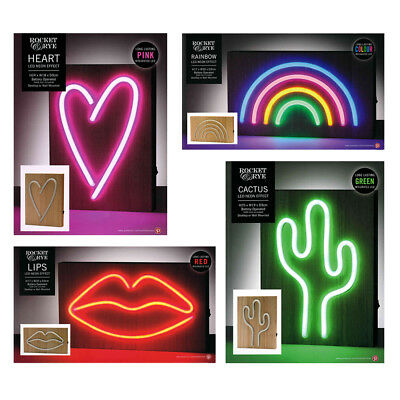 Rocket & Rye LED Neon Effect Light Wood Plaques Battery Powered