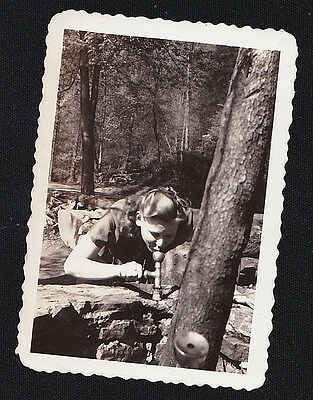 Antique Vintage Photograph Woman Drinking From Water Fountain in the Woods