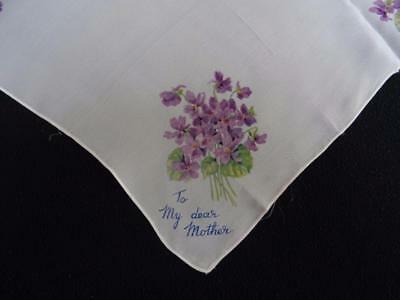 Vintage 1930's Handkerchief Hanky - Printed Floral Design - To My Dear Mother