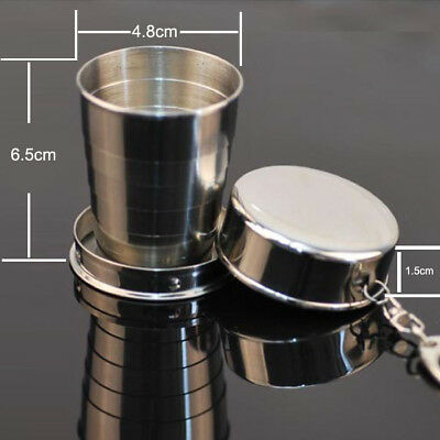 Usefully New Steel Travel Telescopic Collapsible Shot Glass Emergency Pocket Cup