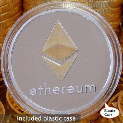 1Pcs Silver Plated Commemorative Collectible Golden Iron ETH Ethereum Miner Coin
