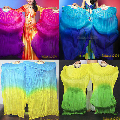Sale 1 pair belly dance real silk fan veils performance 5ft long left right hand