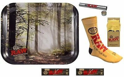RAW TREES TRAY + RAW SOCKS+ RAW BLACK King Size Slim Rolling Papers+Storage Tube
