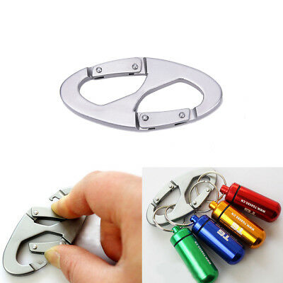 Stainless Steel S-Buckle Clip Snap Hook Dual Carabiner Keychain Keyring