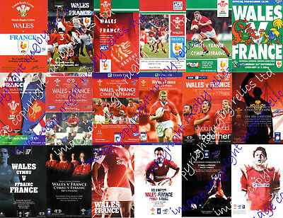 WALES v FRANCE 1990-2016 WELSH FIVE NATIONS RUGBY PROGRAMMES GOOD+ CONDITION