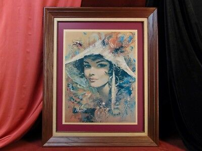 Vintage Mid Century VINCENTE Framed Print FASHION BEAUTY 1960s Holly Golightly