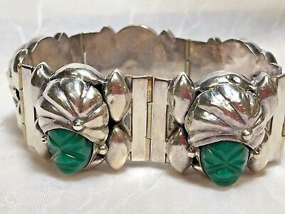 Vintage Mexican Sterling Silver 925 Carved Green Onyx Aztec Mask Bracelet 7.25""