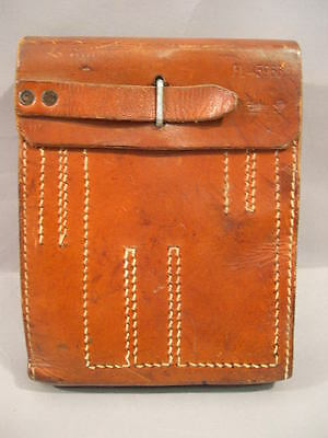 Original WWII German Luftwaffe MG-15 Gunner's Pouch, Brown Leather, LW MG15
