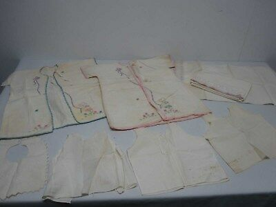 8 Pcs Vintage Infant Baby Flannel Robes Sheet Pillowcase Bib & Undershirts