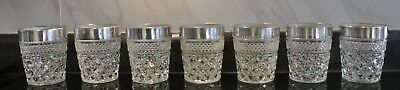 7 Vtge Wexford Pewter Mist By Anchor Hocking Low Ball Rocks Cocktail Glasses
