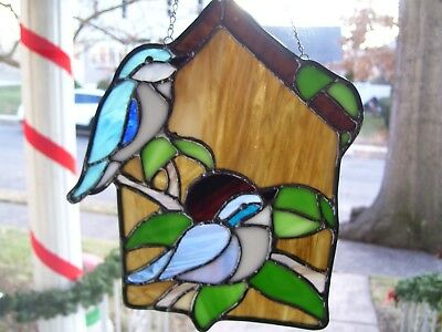 Stained Glass Blue Birds on a Bird House  Sun catcher (Real Glass)